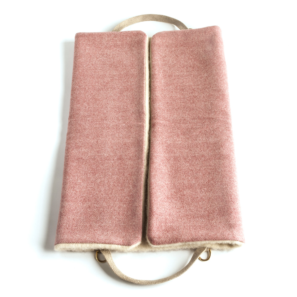 Dog Travel Bed. Berry Wool Bed Bag